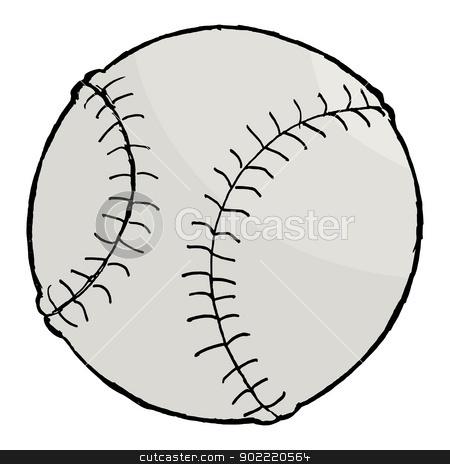 baseball ball stock vector clipart, hand drawn, vector, cartoon image of baseball ball by Oleksandr Kovalenko