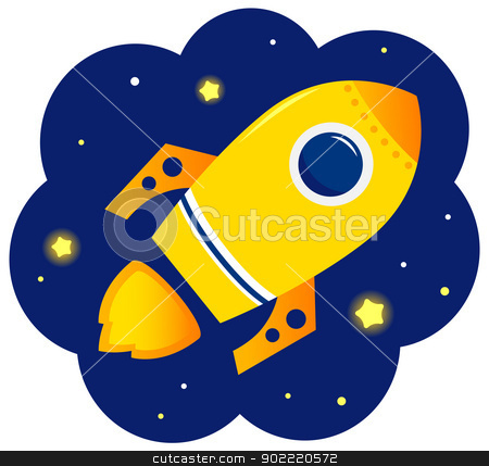 Cartoon stylized Rocket in space with stars stock vector clipart, Yellow vector Rocket in space. Cartoon Illustration  by BEEANDGLOW