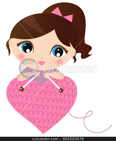 Woman making knitted heart isolated on white stock vector clipart, Curte beautiful Woman with knitted pink heart. Vector Illustration by BEEANDGLOW