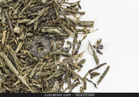 Sencha green tea stock photo, background texture of loose leaf Sencha green tea spilled over white artist canvas by Marek Uliasz