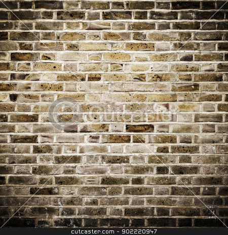 Brick wall stock photo, Grunge brick wall, square photograph with vignette by Dutourdumonde