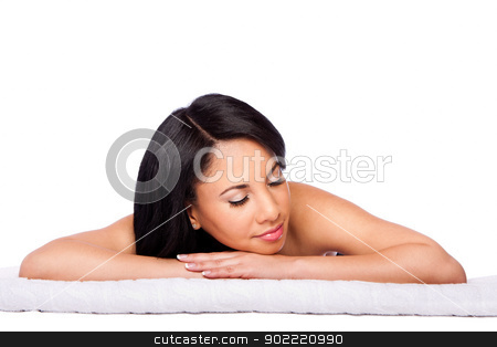 Spa skincare cosmetics beauty face stock photo, Beautiful happy female face, woman laying relaxing on white towel at spa massage beauty treatment parlor. Healthy Skincare concept, isolated. by Paul Hakimata