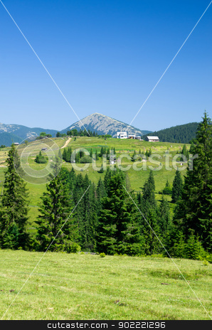mountain  stock photo, mountain summer landscape with blue sky by Vitaliy Pakhnyushchyy