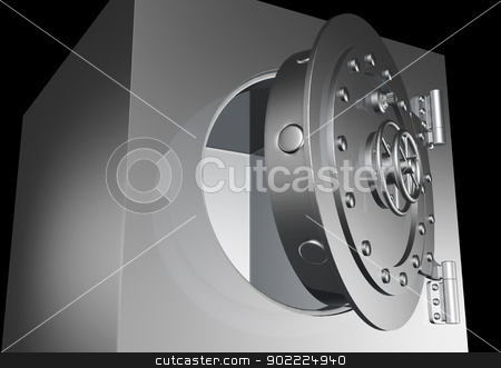 safe door is little open stock photo, a close up from the floor of a little open circular heavy door of a empty metal safe on a black background by Francesco De Paoli