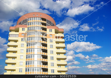 house stock photo, A modern apartments building on sky by Vitaliy Pakhnyushchyy