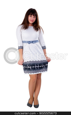 Young pretty woman stock photo, Beautiful smiling girl. Isolated on white background by Aikon