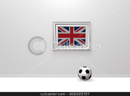british soccer stock photo, soccerball and union jack in frame - 3d illustration by J?