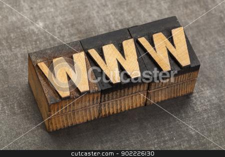 word wide web - www stock photo, word wide web acronym - www in vintage letterpress wood type blocks on a grunge metal background by Marek Uliasz