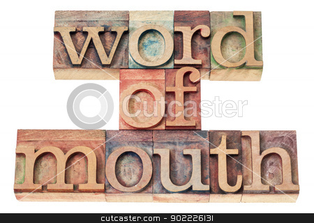 word of mouth in wood type stock photo, word of mouth - isolated text in vintage letterpress wood type printing blocks by Marek Uliasz