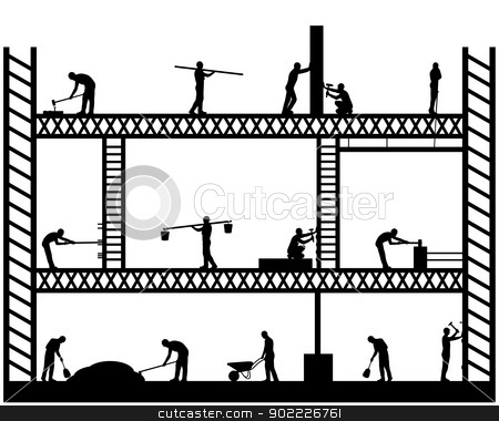 Big Scaffold stock vector clipart, Illustration of team workers working on scaffold by Iliuta