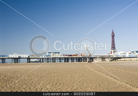 Blackpool Beach stock photo, View across the sand of Blackpool Beach to the pier with the historic Blackpool Tower and pier in the background by Stephen Gibson