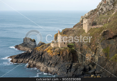Crown Mines ruins, Botallack stock photo, Crown Mines ruins, Botallack, Cornwall, with the remnants of the two stone engine houses perched on the cliffs overlooking the Atlantic ocean by Stephen Gibson