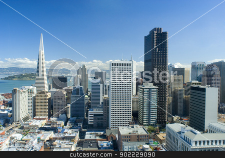 downtown san francisco stock photo, spectacular cityscape of san francisco on a sunny day by Stephen Gibson