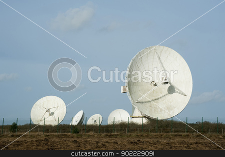 Goonhilly Earth Station stock photo, View of the large parabolic satellite antennas at the Goonhilly Earth Station, Lizard Peninsula, Cornwall which houses a historic parabolic dish called Arthur by Stephen Gibson