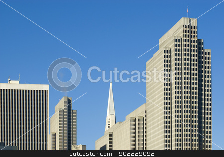 san francisco skyscrapers stock photo, roof shapes of downtown san francisco, transamerica building and the embacadero centre by Stephen Gibson