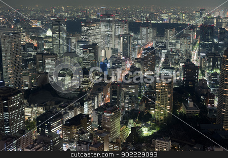 View of Tokyo buildings at night stock photo, Aerial view of downtown Tokyo buildings and streets at night with illuminated lights by Stephen Gibson