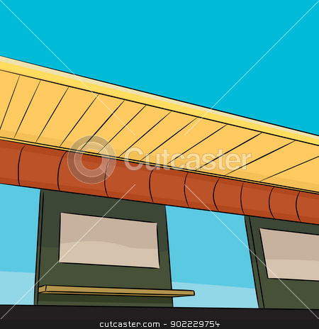 Public Transit Station Platform stock vector clipart, Low angle view of rapid transit station platform by Eric Basir