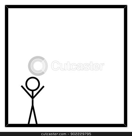 Stickman stock photo, Black stickman on white background in a black square box by Henrik Lehnerer