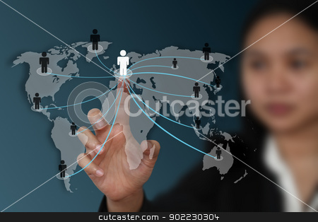 world social network concept stock photo, female hand touch on screen for social network concept by Vichaya Kiatying-Angsulee