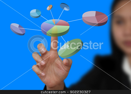 vurtual business diagram stock photo, businesswman hand touch pie chart on technology virtual touch screen by Vichaya Kiatying-Angsulee
