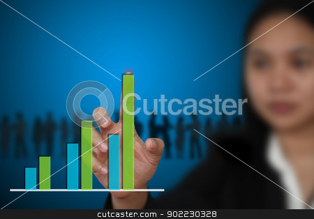 Business Bar graph Diagram stock photo, business woman hand touch Bar graph Diagram by Vichaya Kiatying-Angsulee