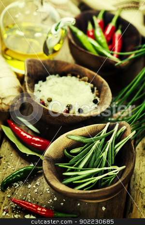 herbs and spices  stock photo, wooden bowls with fresh herbs and spices  by klenova