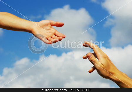 helping hand stock photo, Helping hand with the sky background       by Vitaliy Pakhnyushchyy