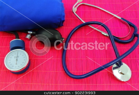 Medical sphygmomanometer, tensiometer, stethoscope stock photo, Medical sphygmomanometer, tensiometer, stethoscope, blood pressure measuring. by MarcinSl1987
