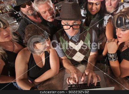 Computer Geek with Biker Gang stock photo, Mature nerd troubleshooting a computer with biker gang by Scott Griessel