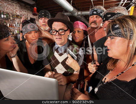 Worried Nerd with Mad Gang Members stock photo, Worried nerd on laptop with suspicious motorcycle gang by Scott Griessel