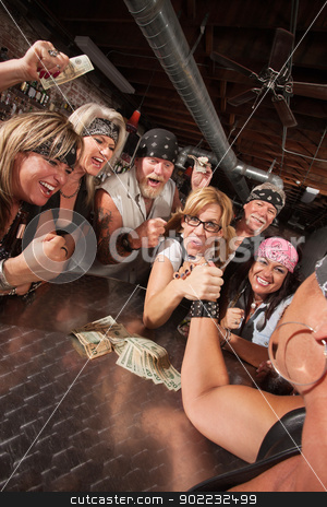 Tough Gang Betting on Nerd stock photo, Motorcycle gang cheering in arm wrestling match with nerd by Scott Griessel