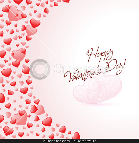 Happy Valentines Day Card with Hearts stock vector clipart, Happy Valentines Day Card with Red Hearts by Vadym Nechyporenko