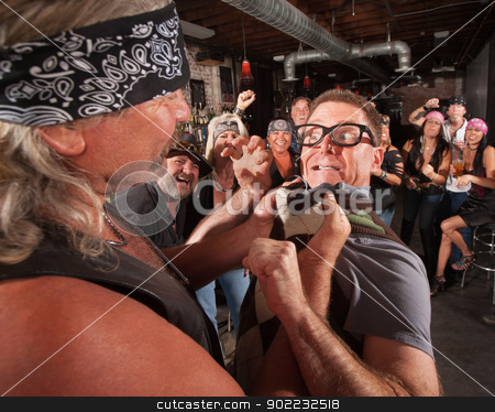 Nerd Threatens Bully stock photo, Nerd threatening tough gang member grabbing him by the collar by Scott Griessel