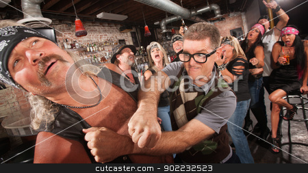 Geek Punches Gang Member stock photo, Brave geek with glasses punches biker gang man in bar by Scott Griessel