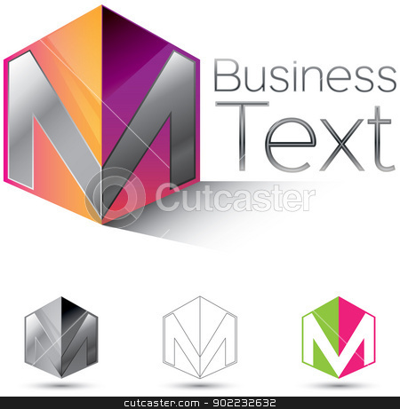 Letter M in a box stock vector clipart, Attractive corporate identity design element with the letter M in  glossy 3d box by HypnoCreative