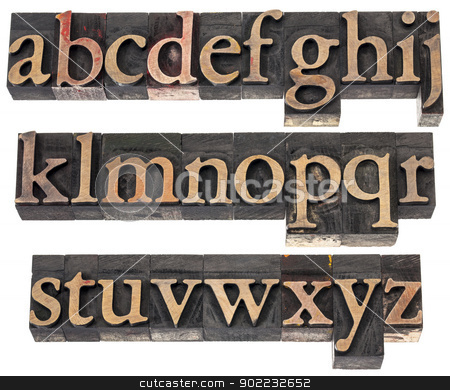 wood type alphabet stock photo, wood type alphabet in letterpress printing blocks stained by color inks, three rows isolated on white by Marek Uliasz