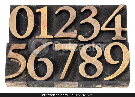 numbers in wood type stock photo, ten  numerals from 0 to 9 in vintage wood letterpress blocks stained by black ink, isolated on white by Marek Uliasz