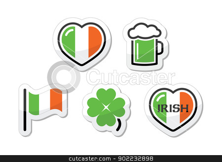 St Patricks Day icons - irish flag, clover, green beer stock vector clipart, National celebration in Ireland - St Patricks Day icons set by Agnieszka Murphy