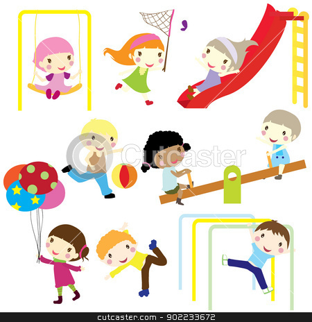 children active stock vector clipart, children actively playing in playground isolated  by glossygirl21