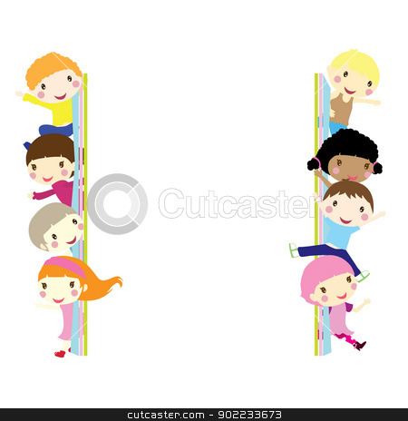 children background stock vector clipart, children popping out and waving background  by glossygirl21
