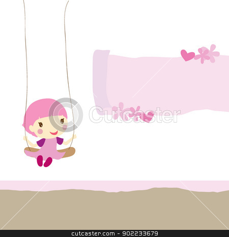 girl on swing stock vector clipart, girl on swing with scrolled paper, flowers and hearts by glossygirl21