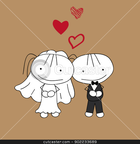 couple wedding  stock vector clipart, couple wedding with hovering heart shapes by glossygirl21