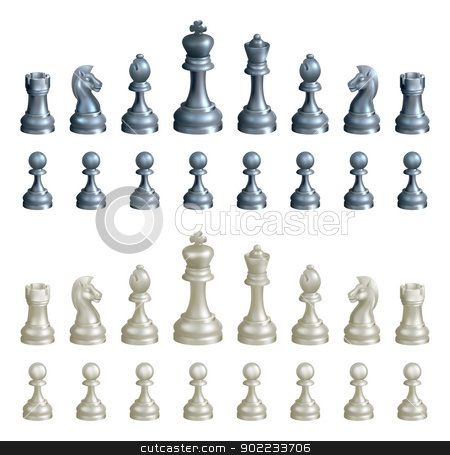 Chess pieces set stock vector clipart, An illustration of a complete set of chess pieces in black and white by Christos Georghiou