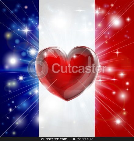 Love France flag heart background stock vector clipart, Flag of France patriotic background with pyrotechnic or light burst and love heart in the centre by Christos Georghiou