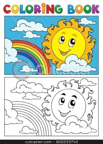 Coloring book summer image 1 stock vector clipart, Coloring book summer image 1 - vector illustration. by Klara Viskova