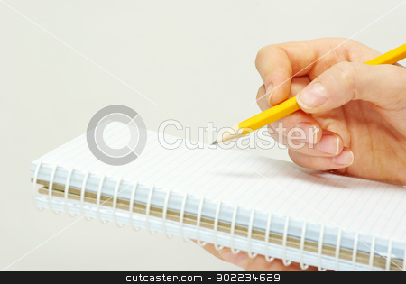 notes stock photo, Business people taking notes isolated on white by Vitaliy Pakhnyushchyy