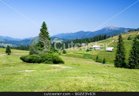 mountain summer landscape  stock photo, mountain summer landscape with blue sky by Vitaliy Pakhnyushchyy