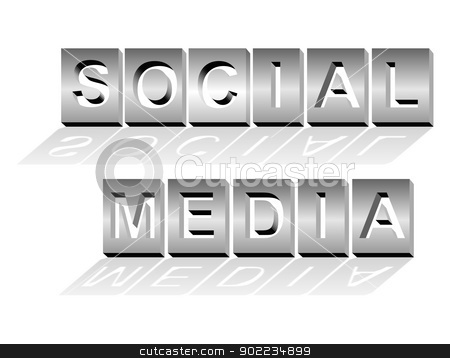 Social media - metal letters stock vector clipart, Social media text in metal letters, isolated on white. Conceptual image. by PhotoEstelar