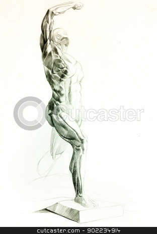 Muscular man stock photo,  Original pencil  or drawing charcoal, and  hand drawn painting or  working  sketch of a man with muscular body.Free composition by borojoint