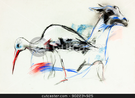 Stork and llama stock photo,  Original pastel and  hand drawn painting or  working  sketch of stork  and llama.Free composition by borojoint